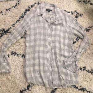 "B.R. gray & white gingham ""Dillon"" shirt"